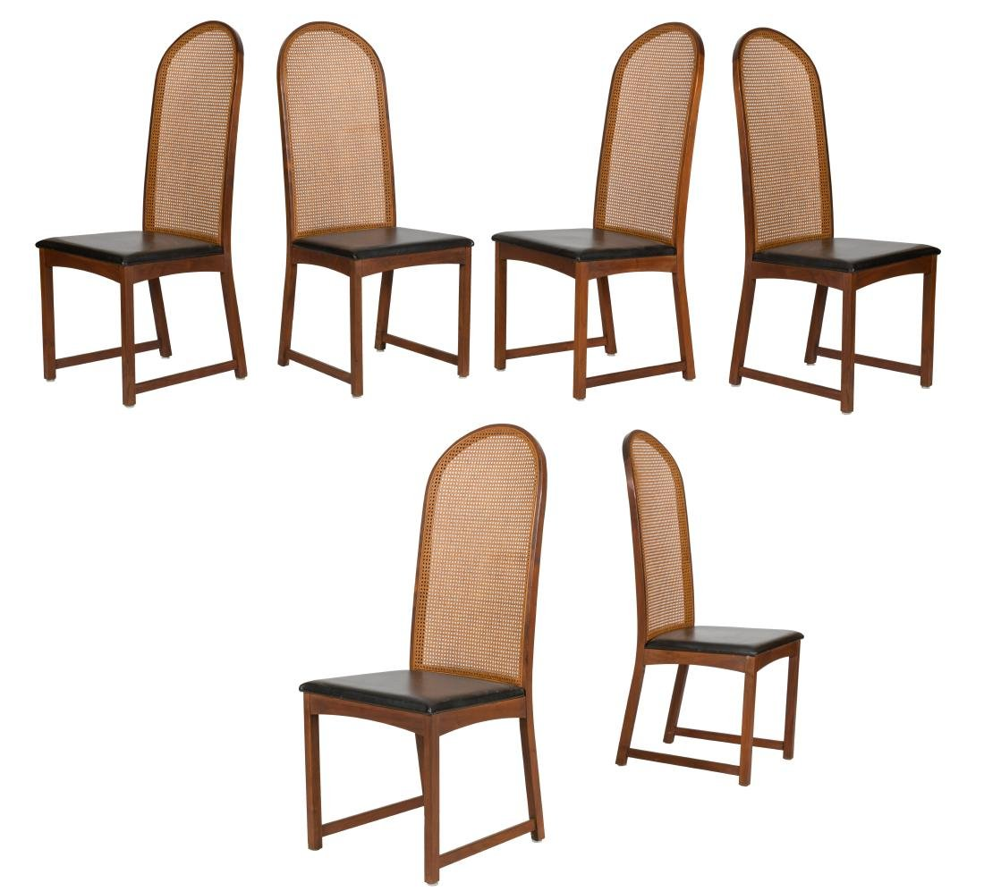 Milo Baughman Cane and Teak Dining Chairs - Six
