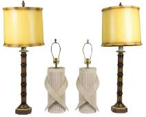 Two Pairs of Mid Century Lamps