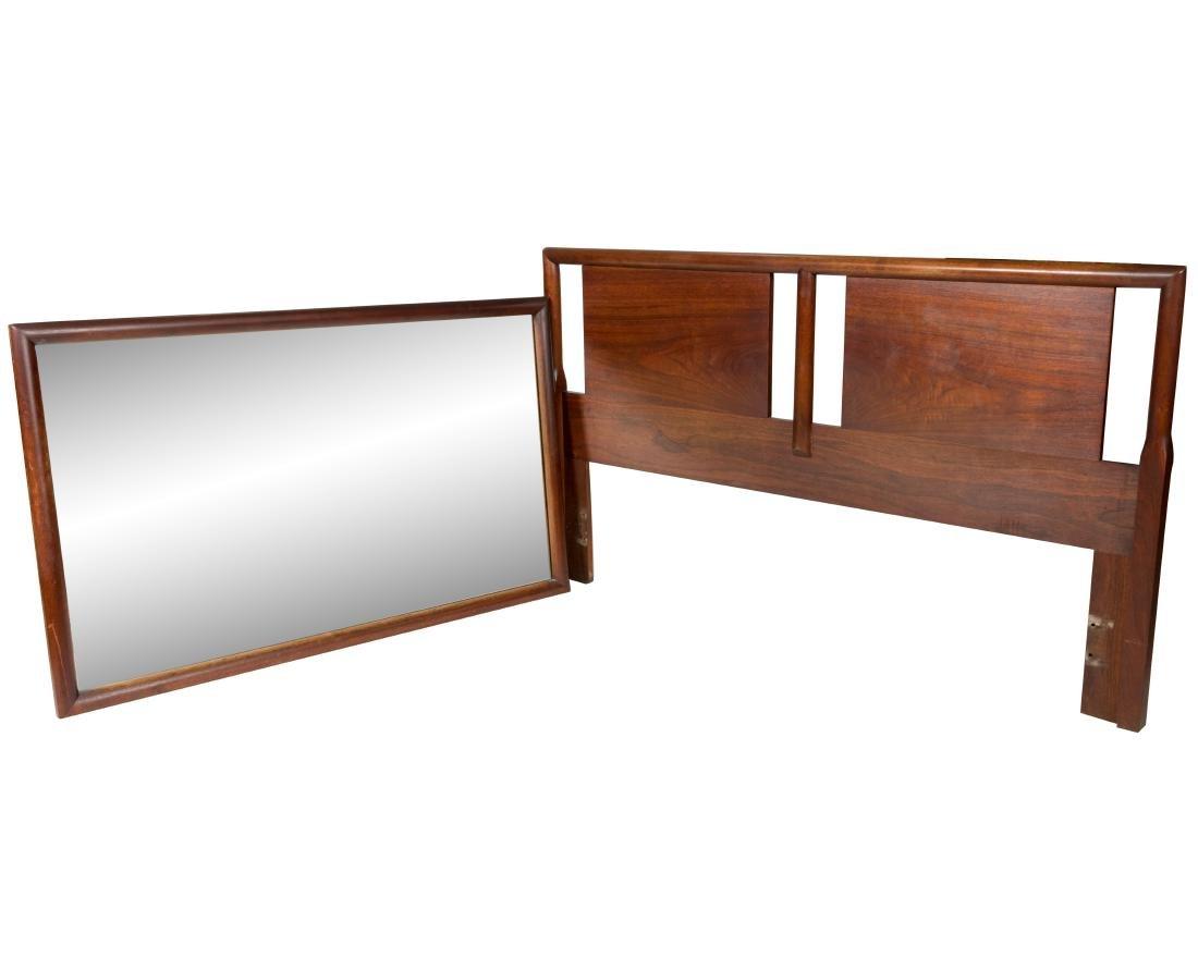 John Widdicomb Teak Mirror and Headboard