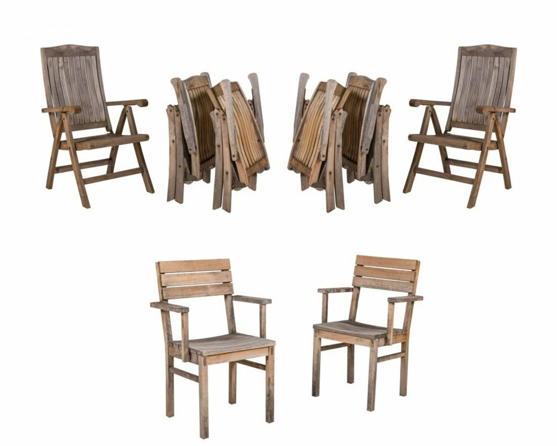 Eight Teak Patio Chairs