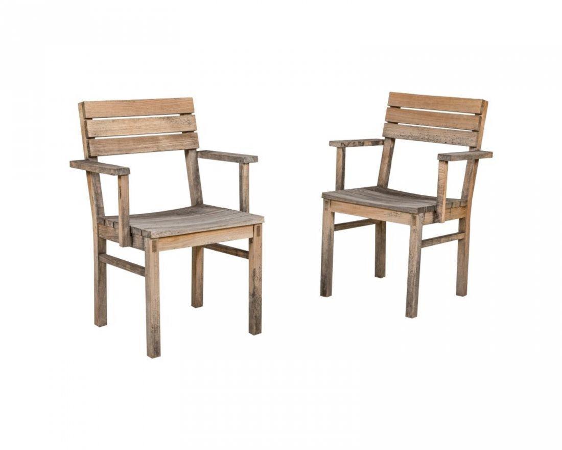Eight Teak Patio Chairs - 2