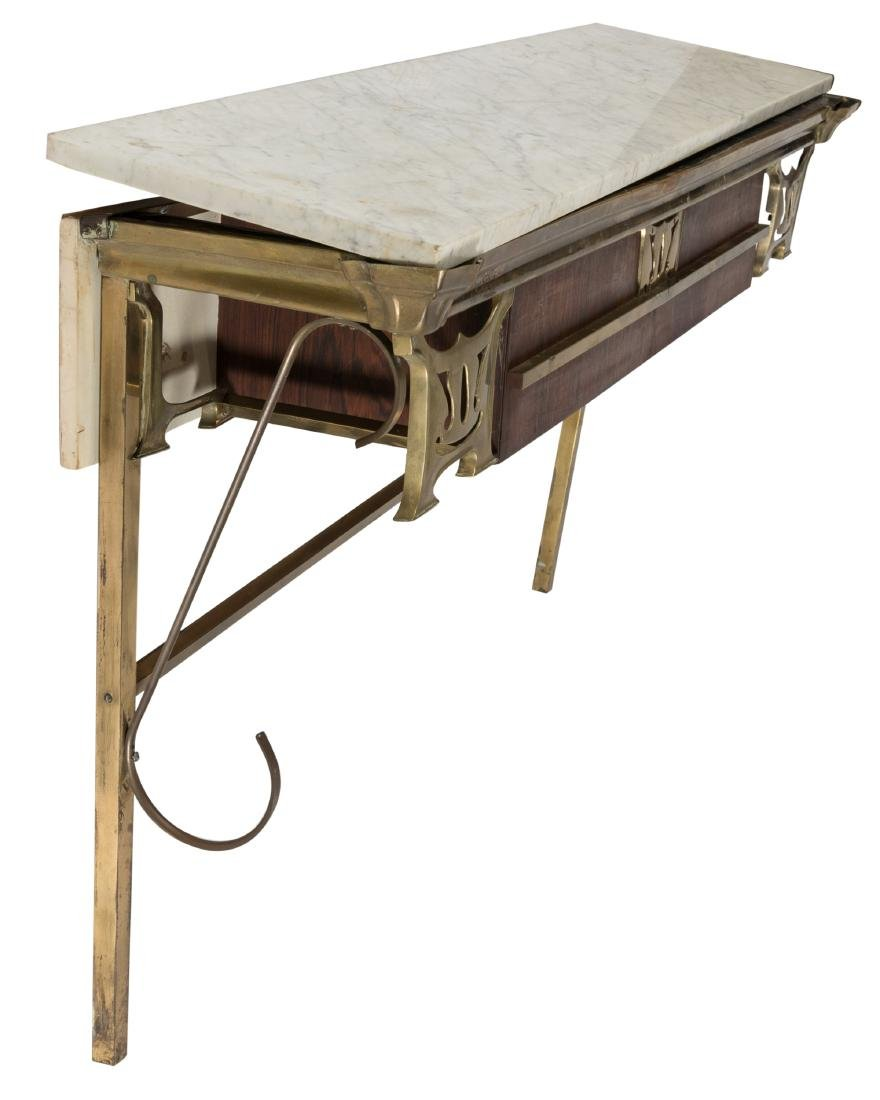 Art Nouveau Rosewood and Brass Console