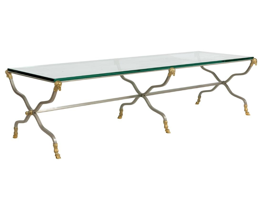Brushed Steel and Brass Rams Head Coffee Table