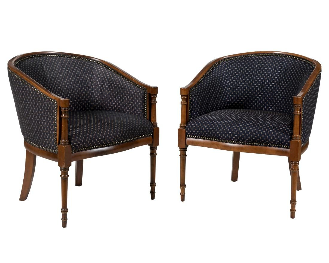 English Regency Style Library Chairs - Pair