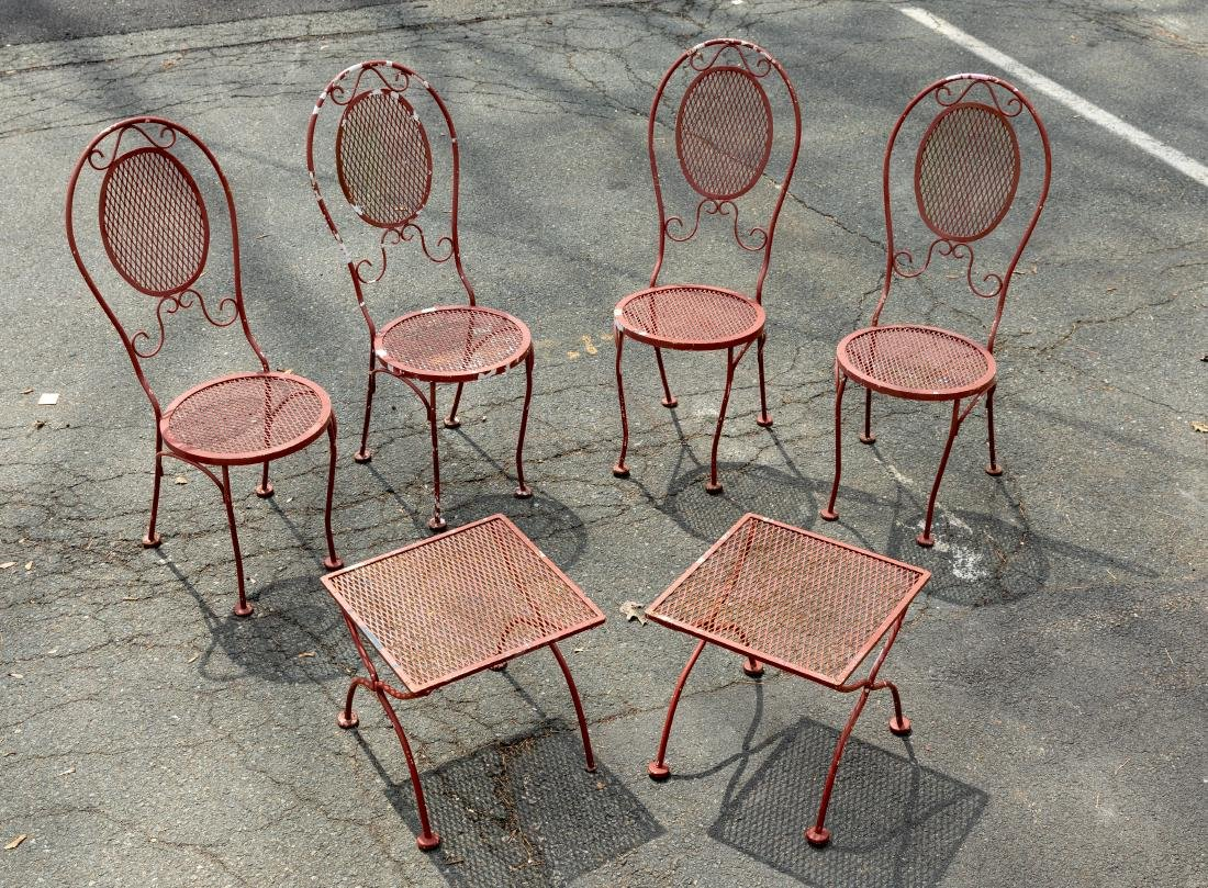 Four Iron Chairs and Pair Tables