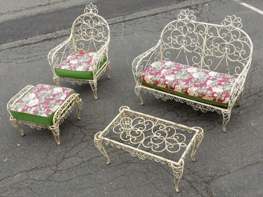 Victorian Style Wrought Iron Porch Set - 4 Piece