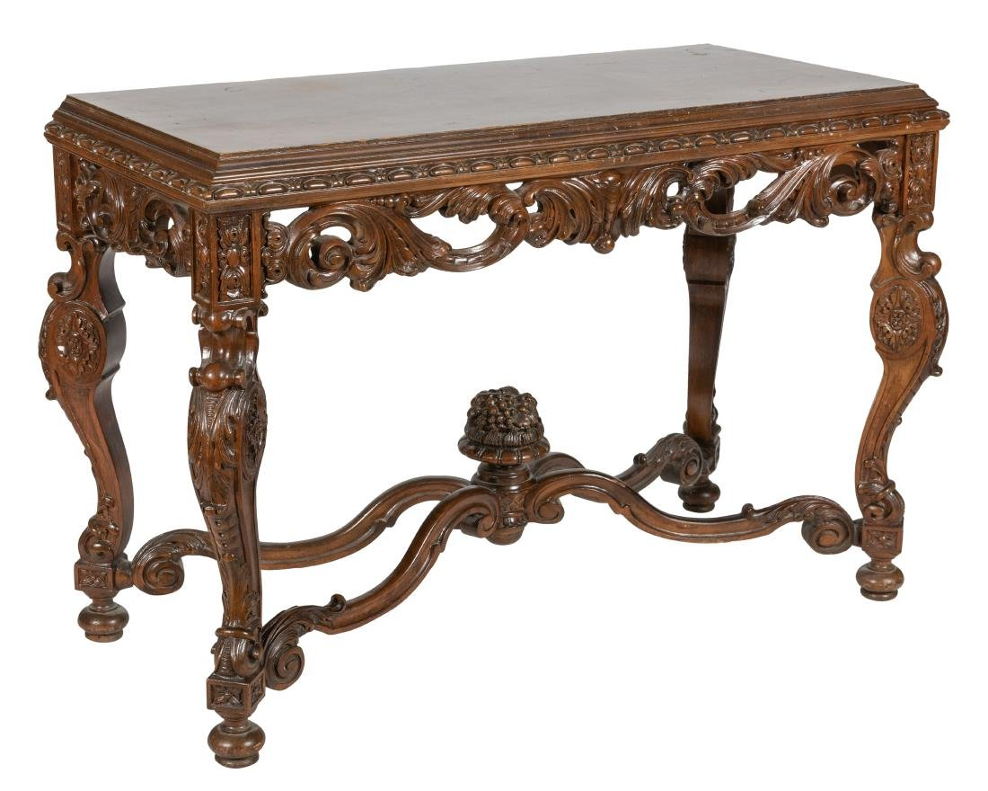 Carved Walnut Console Table