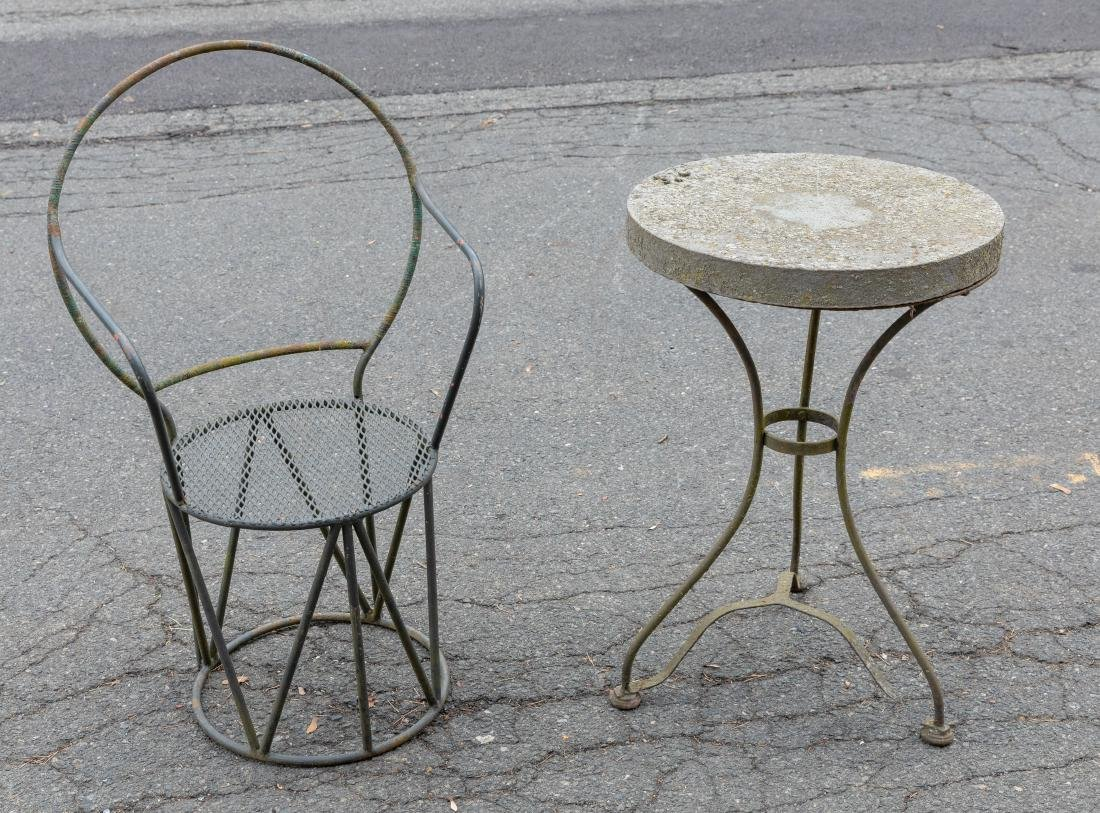 Iron and Stone Table and Iron Chair