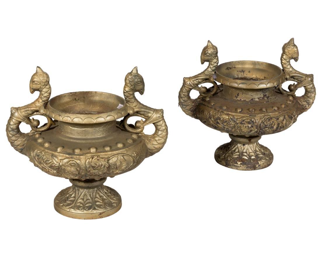 Figural Cast Iron Urns - Pair