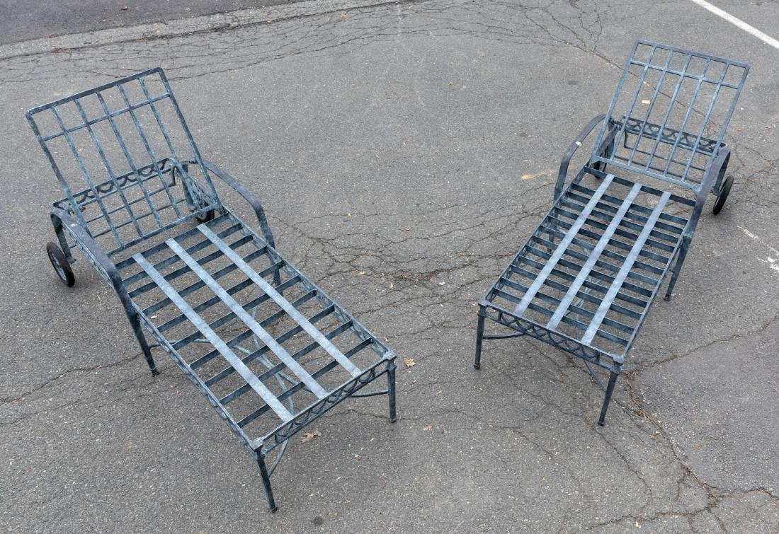 Cast Aluminum Chaise Lounges - Pair