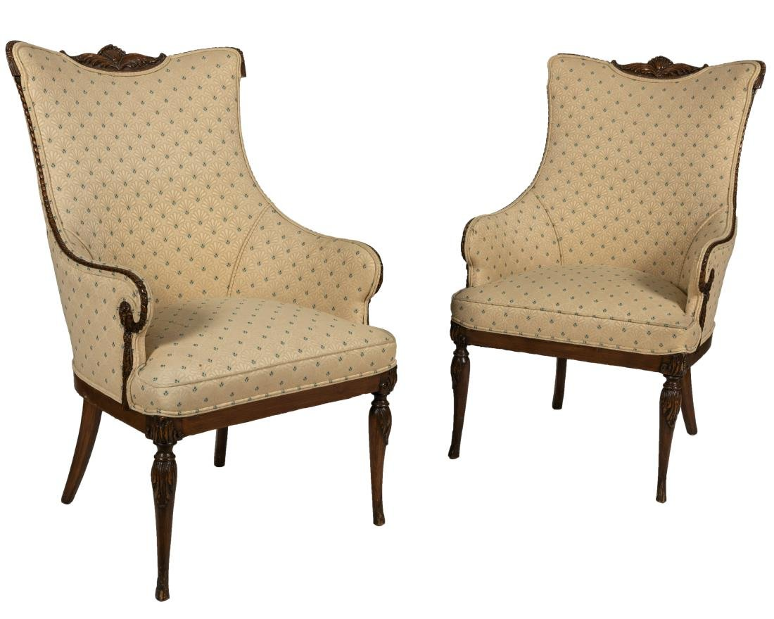Mahogany Fireside Chairs - Pair