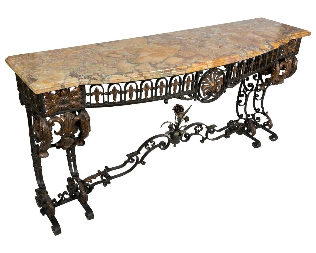 Ornate Wrought Iron Marble Top Console
