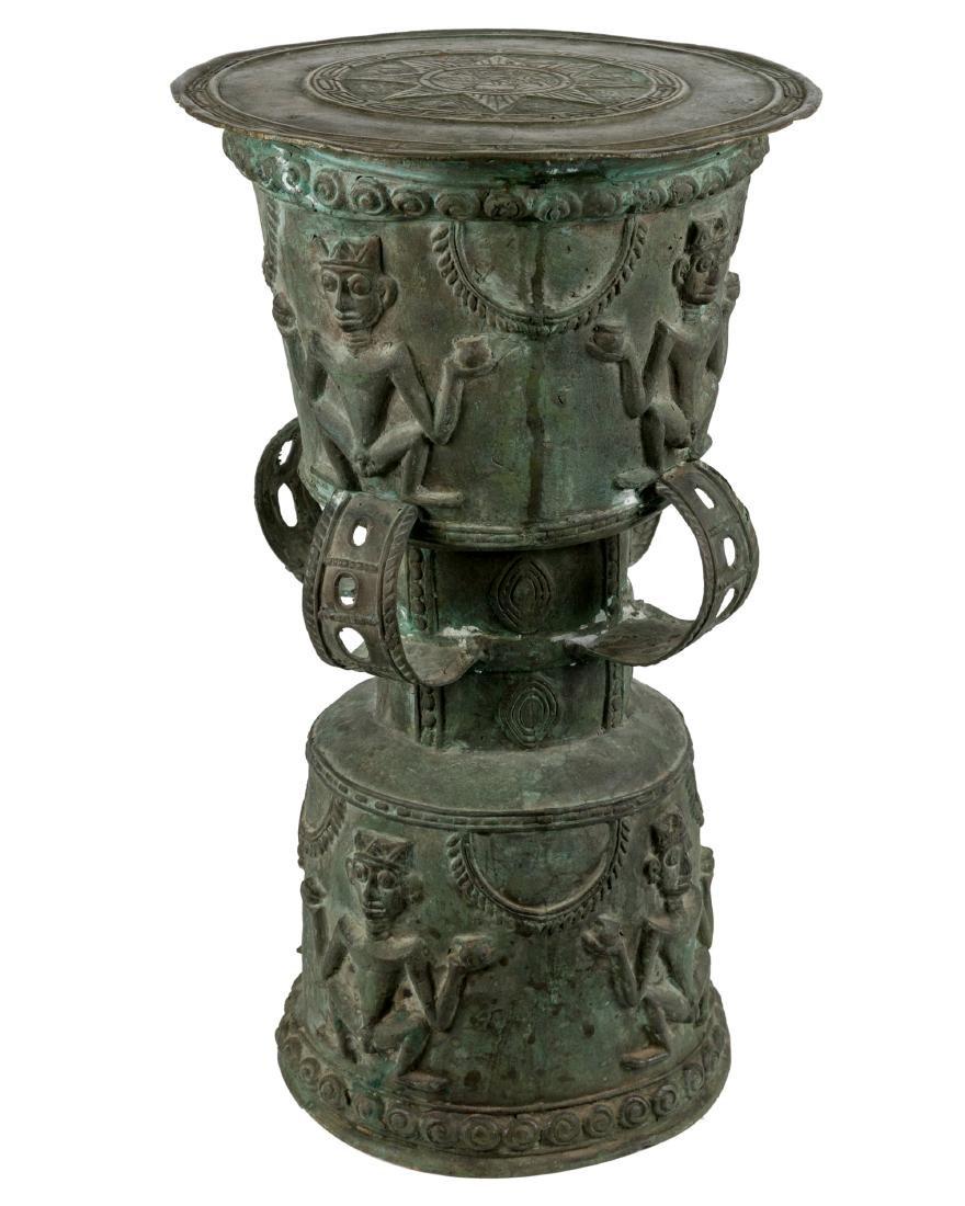 African Figural Bronze Pedestal