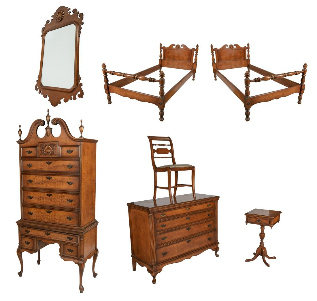 Curly Maple Bedroom Set - 7 Piece