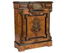 Victorian Burled Cabinet with Bronze Plaque