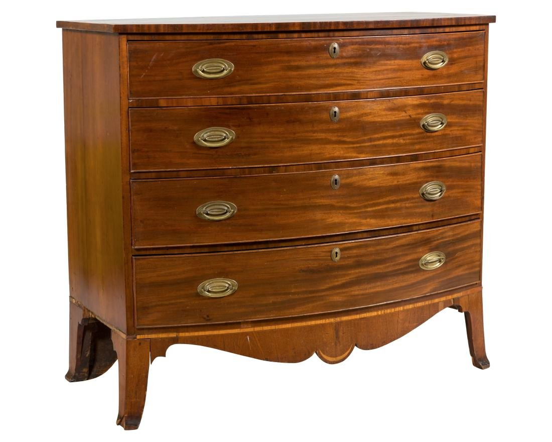 American Bow Front Mahogany Chest