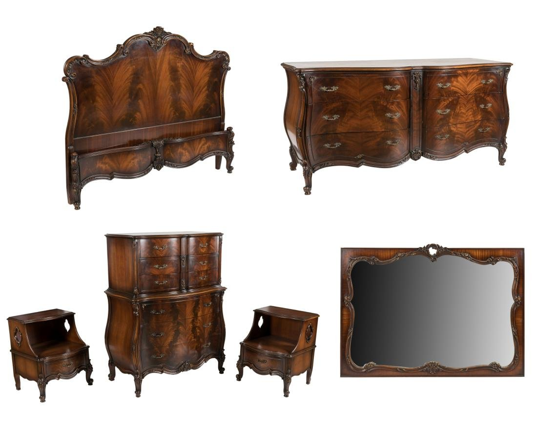 French Style Mahogany Bedroom Set - 6 Piece