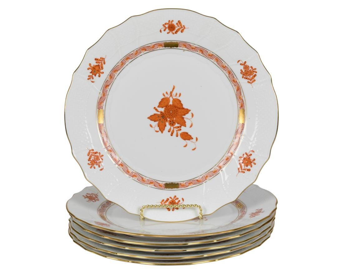 Herend Chinese Bouquet Dinner Plates - Six