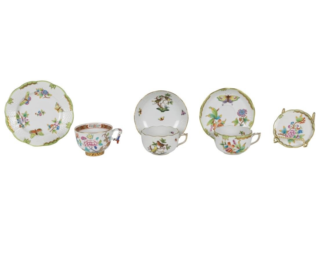 Herend Porcelain Tea Cups and Saucers - 7 Pieces