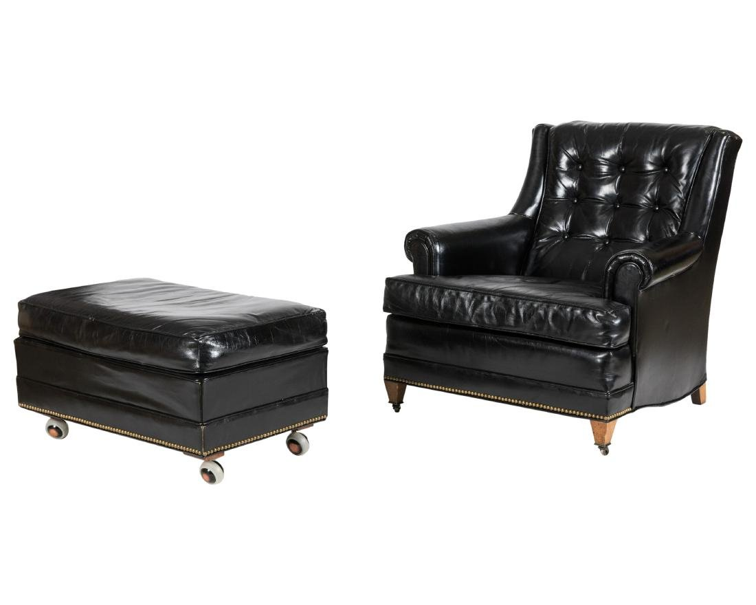 Sherrill Tufted Leather Club Chair and Ottoman