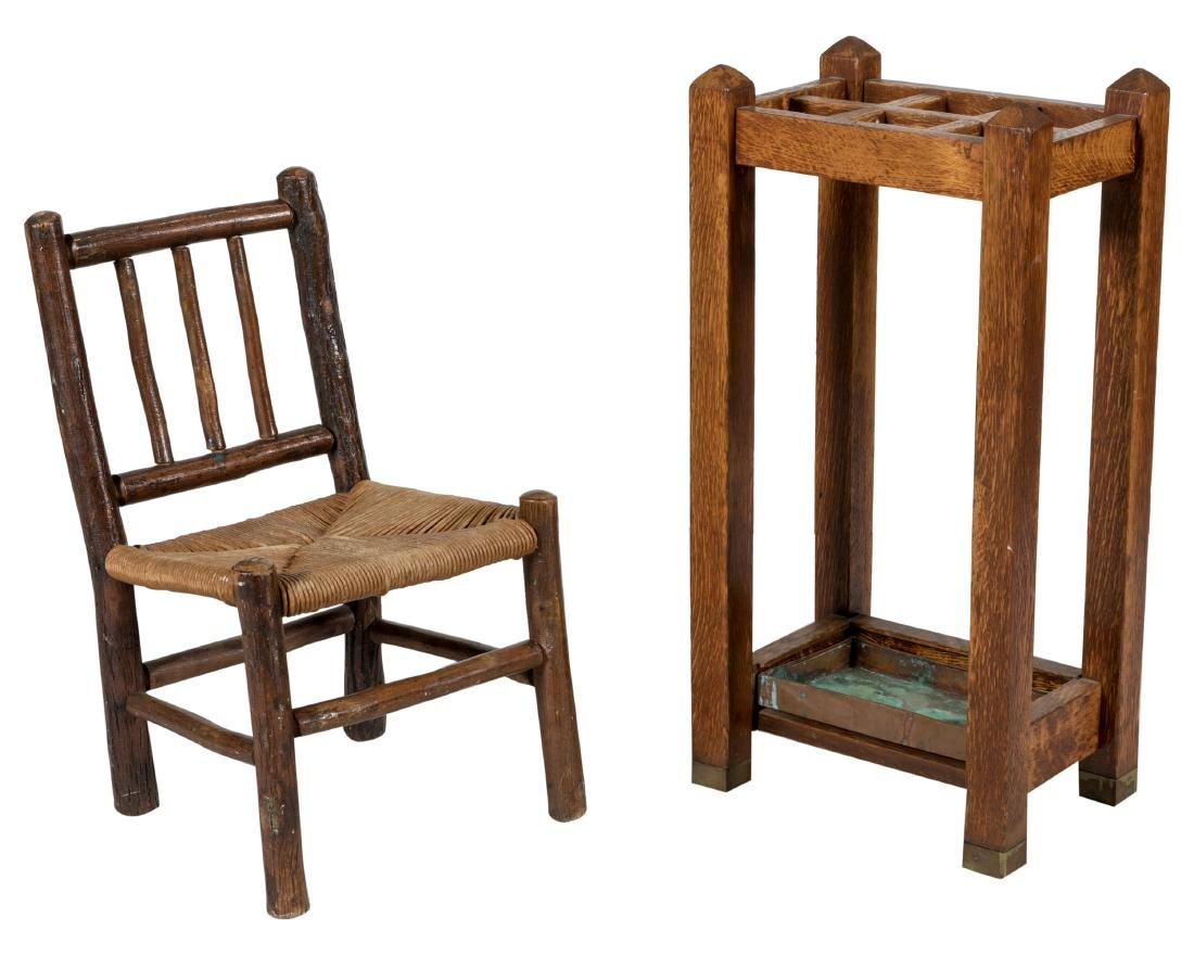 Old Hickory Chair Umbrella Stand and Cabinet