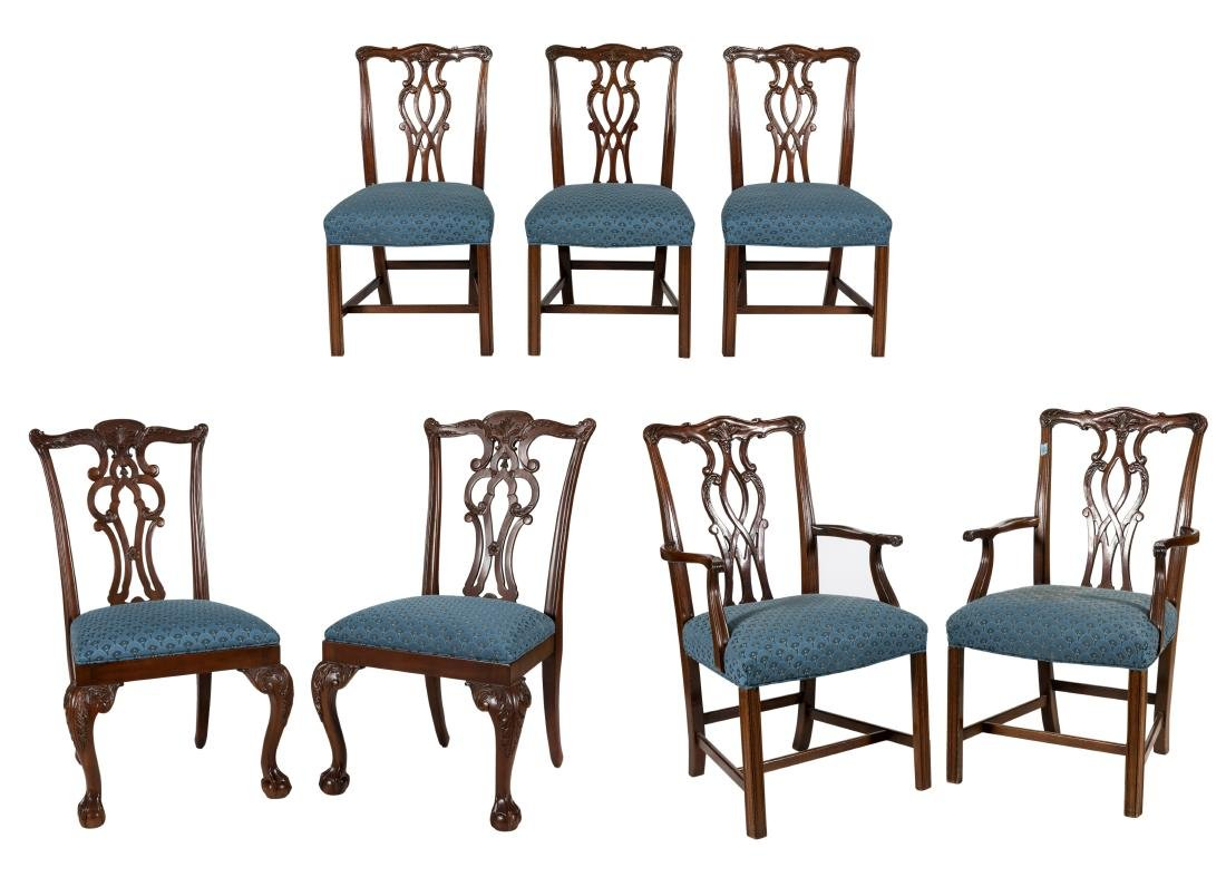 Chippendale Style Mahogany Chairs - Seven