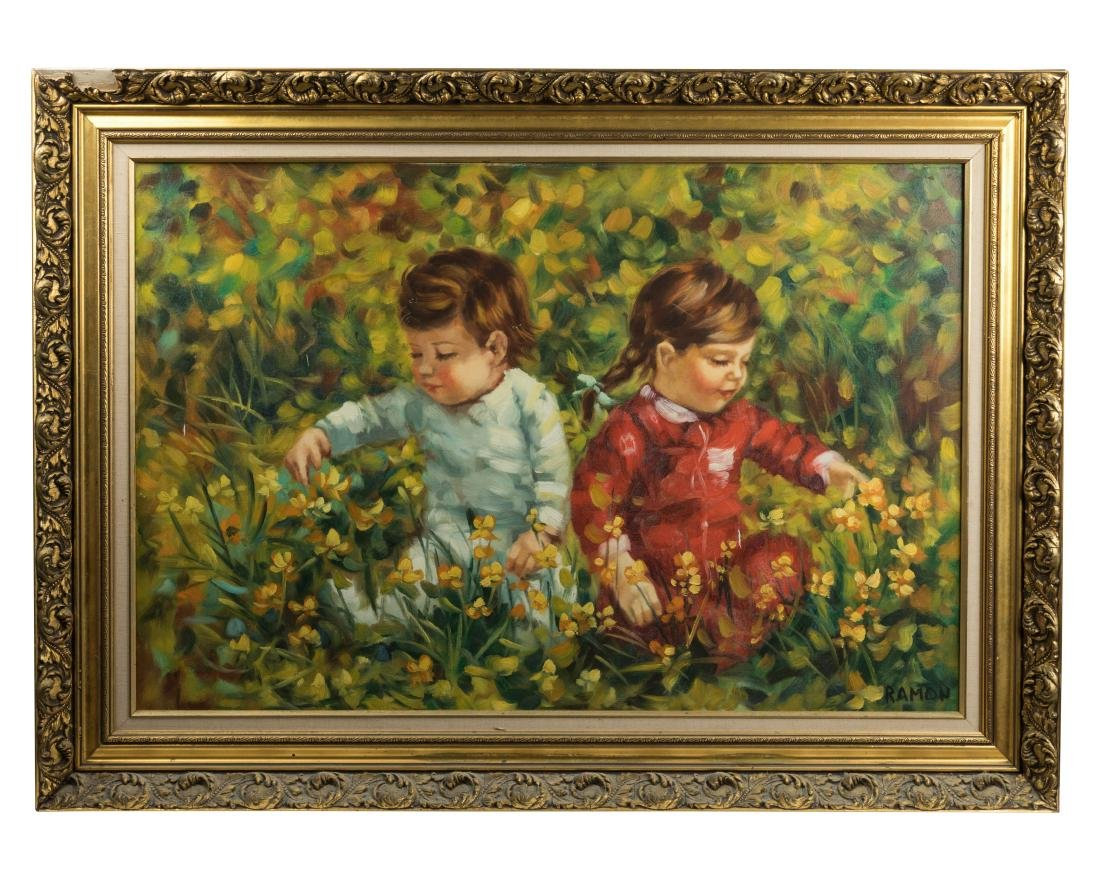 Oil on Canvas of Children - Giltwood Frame Signed