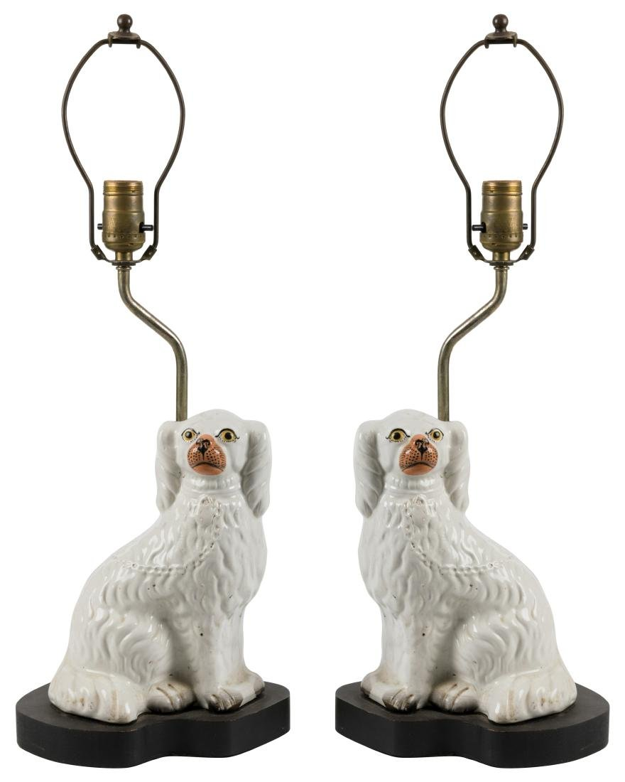 Staffordshire Dog Lamps - Pair
