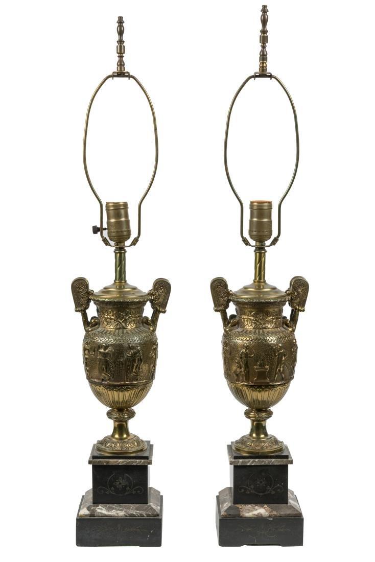 Marble and Bronze Greek Motif Urn Lamps - Pair
