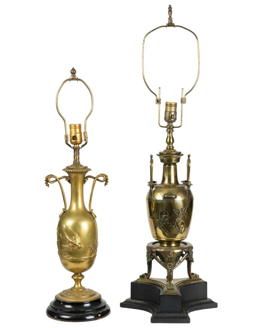 Two Bronze Urn Shaped Lamps