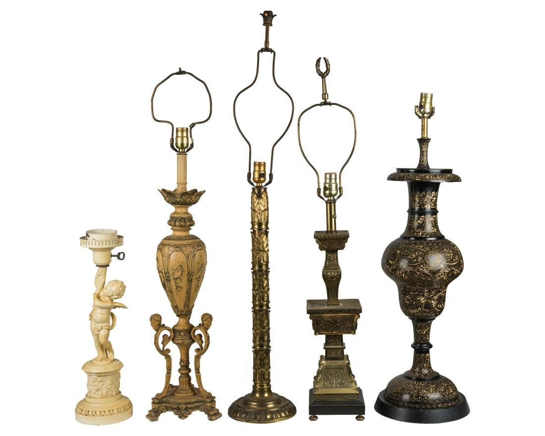 Five Iron and Brass Lamps