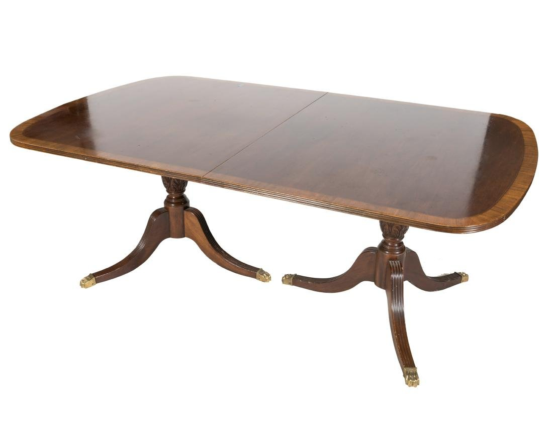 Mahogany Banded Dining Table