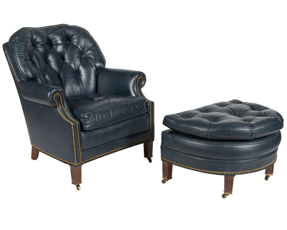 Hancock Moore Leather Chair and Ottoman