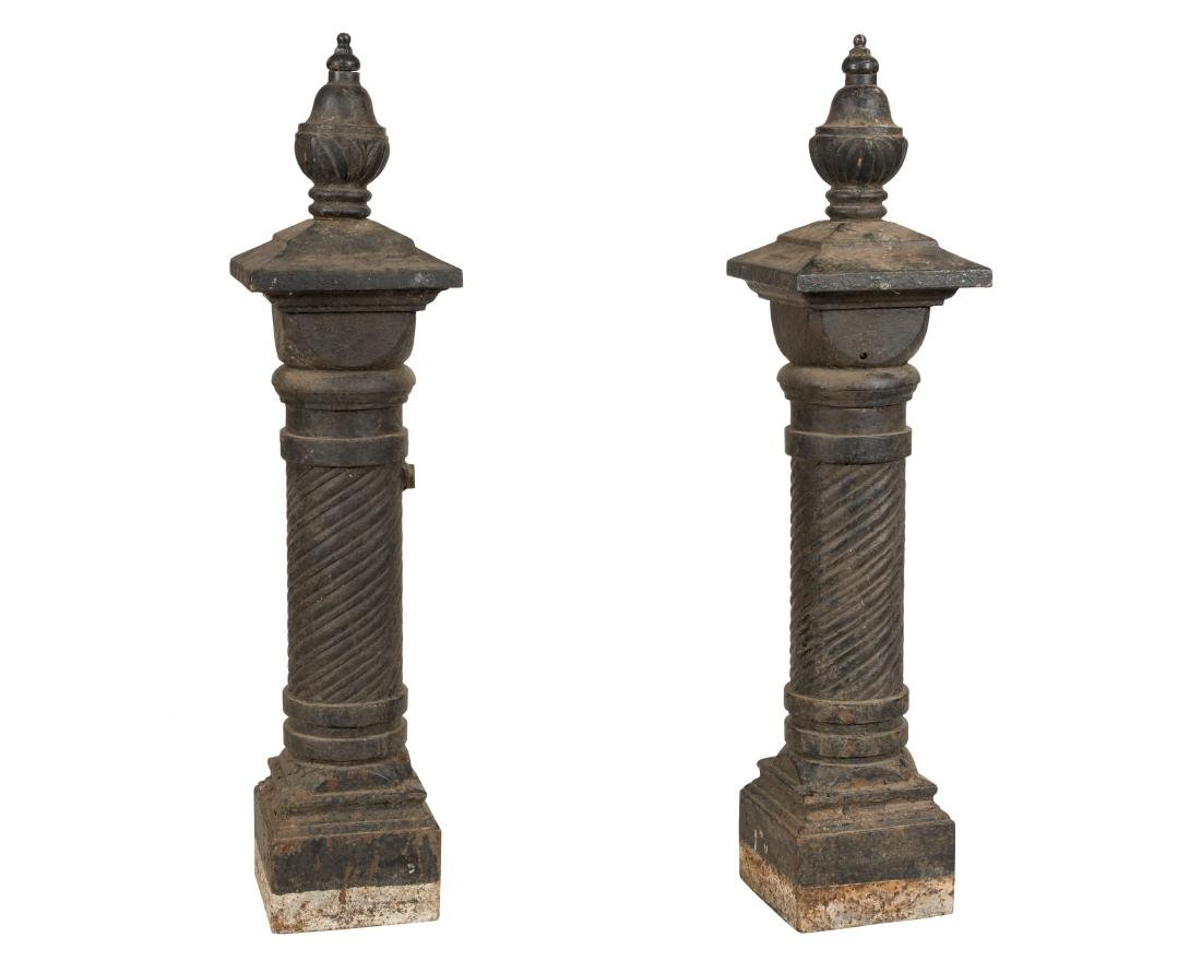 Victorian Cast Iron Newel Posts - Pair