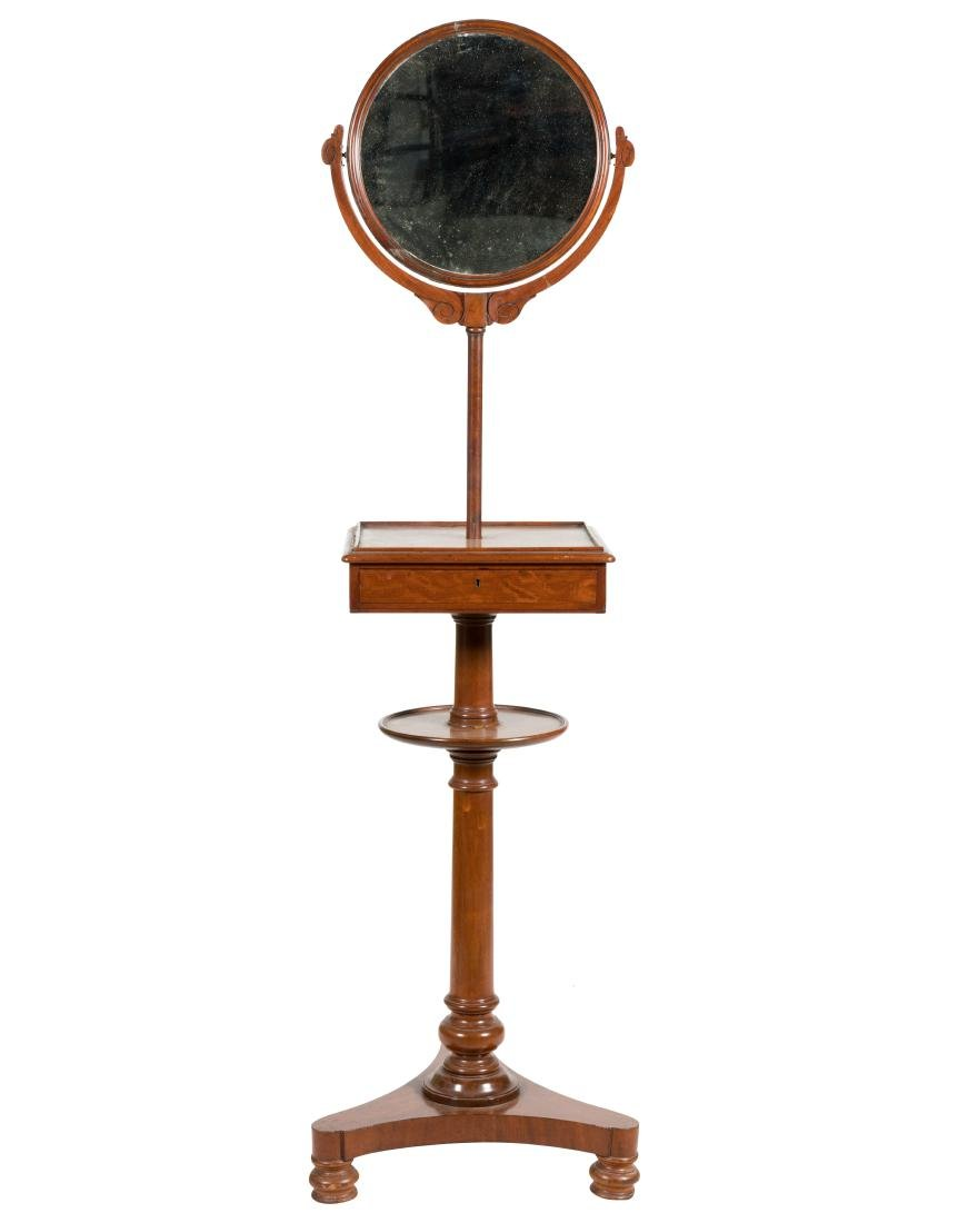 19th C. Mahogany Standing Shaving Mirror