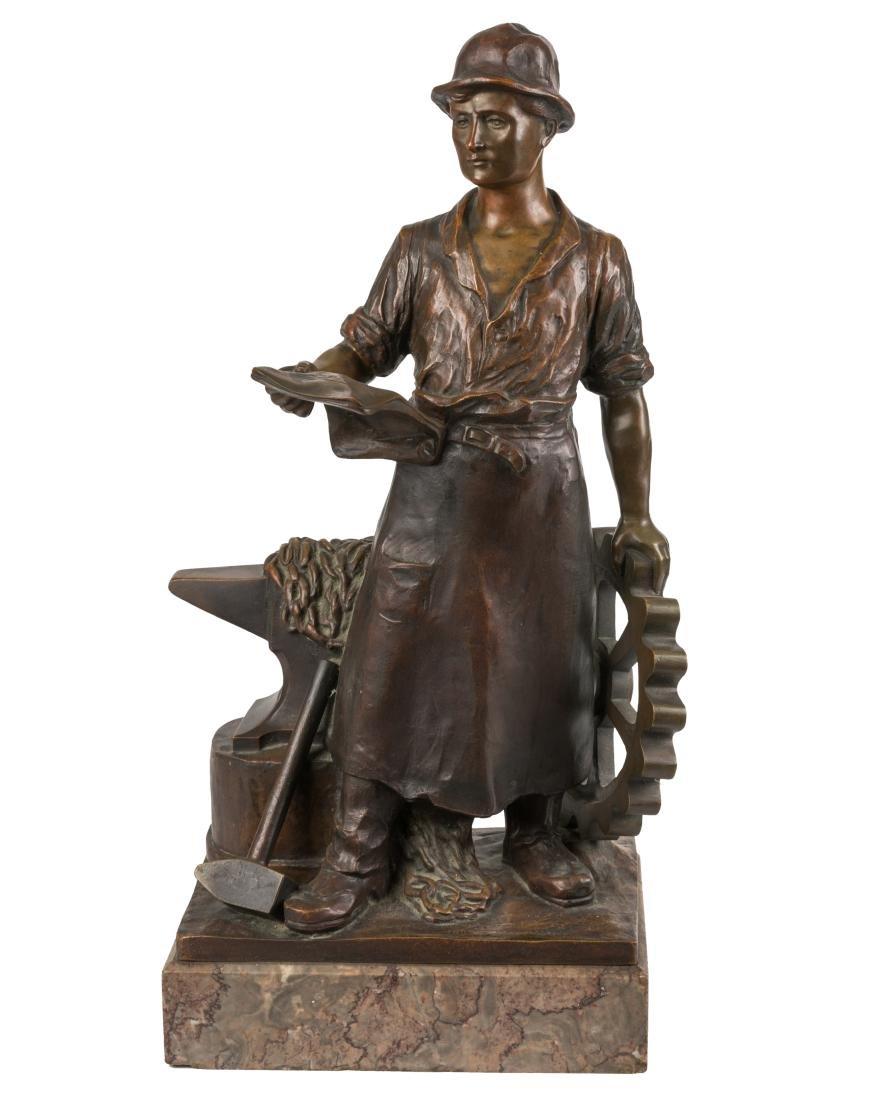 Gottlob Deihle Bronze of Foundry Worker