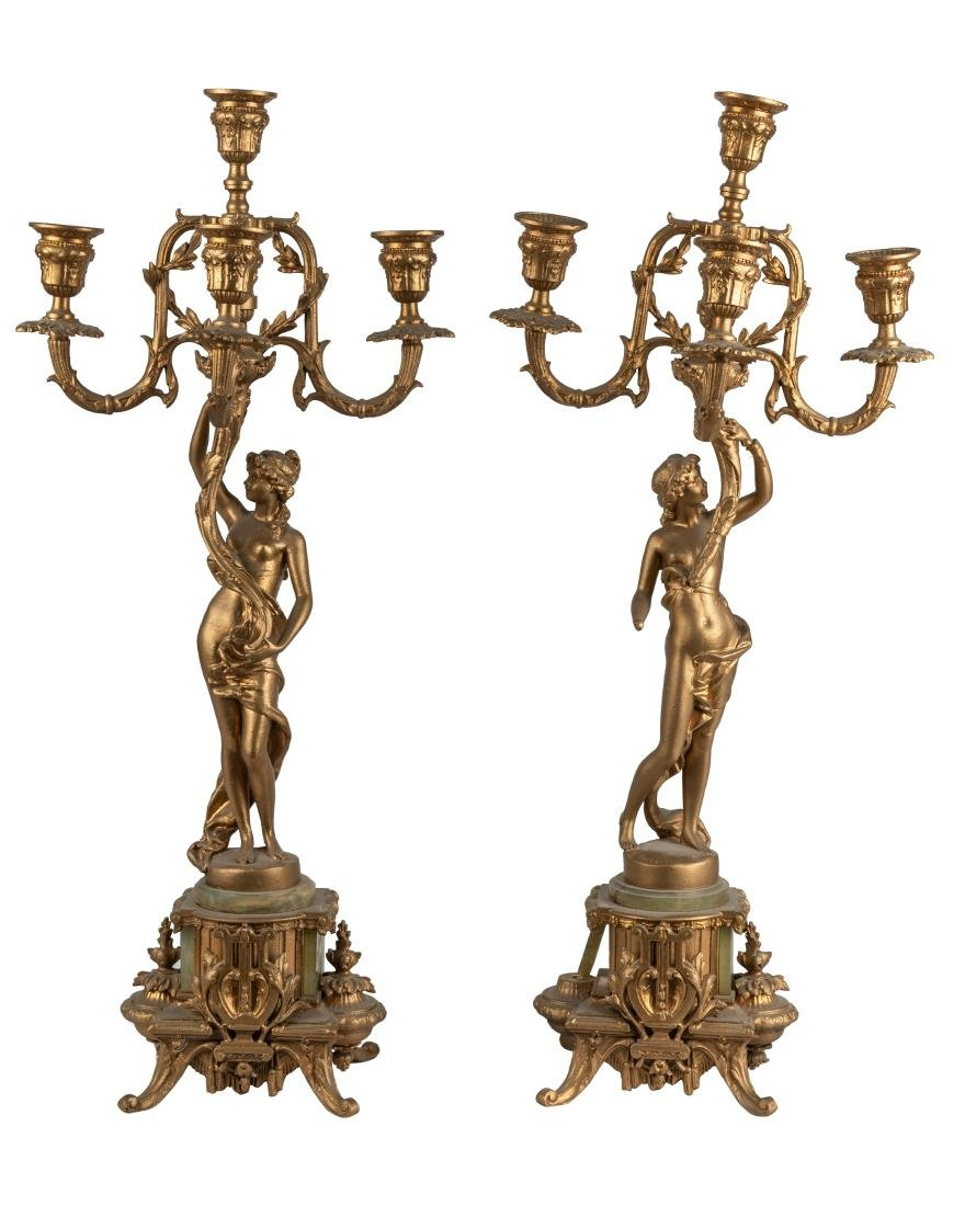 Gilt Metal and Onyx Figural Candelabras - Pair