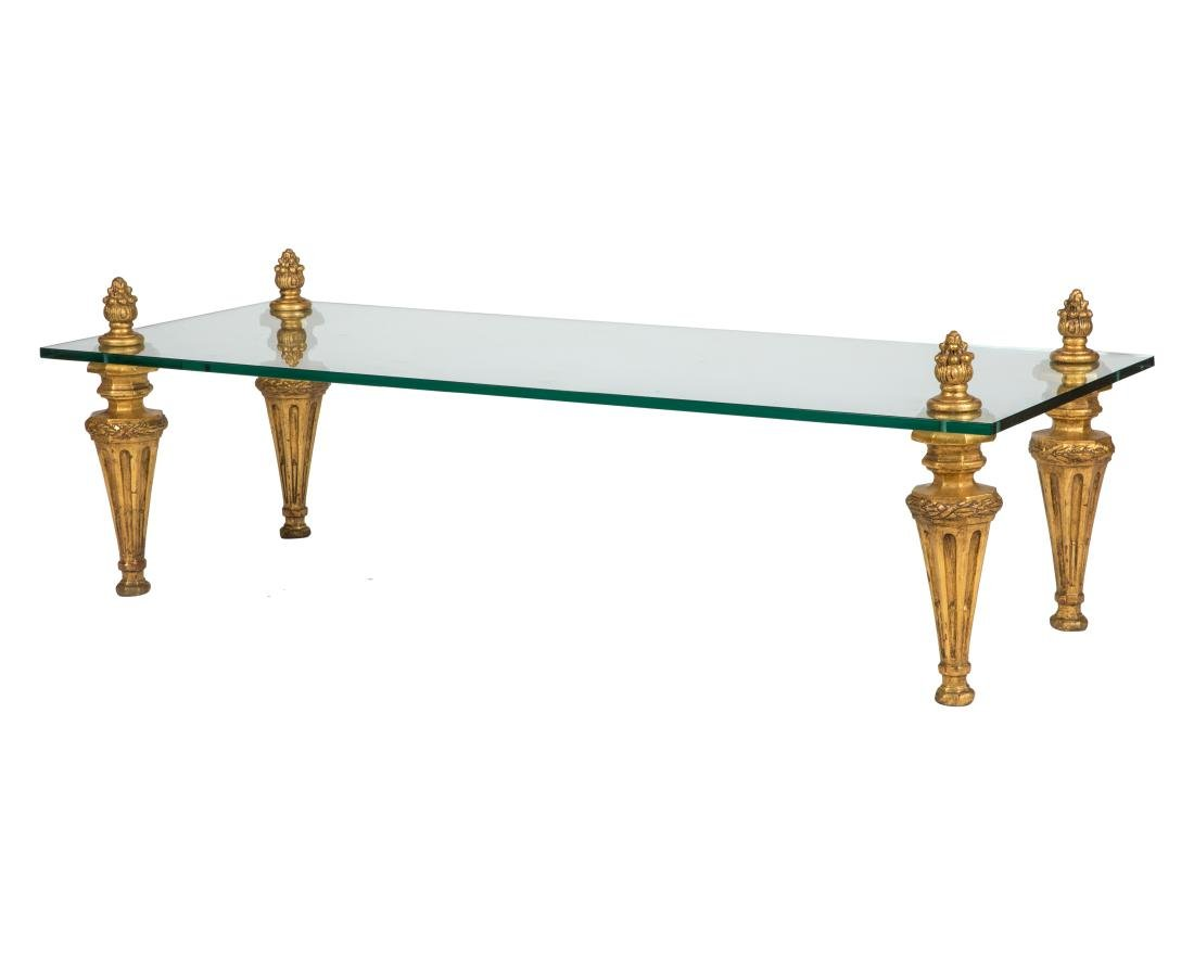 Gilt Wood and Glass Coffee Table