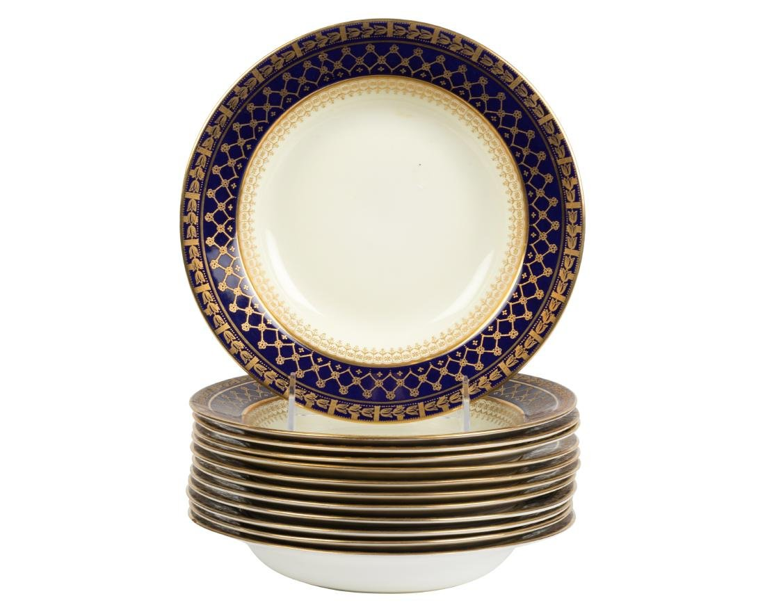 English Raised Gold Soup Bowls - 12