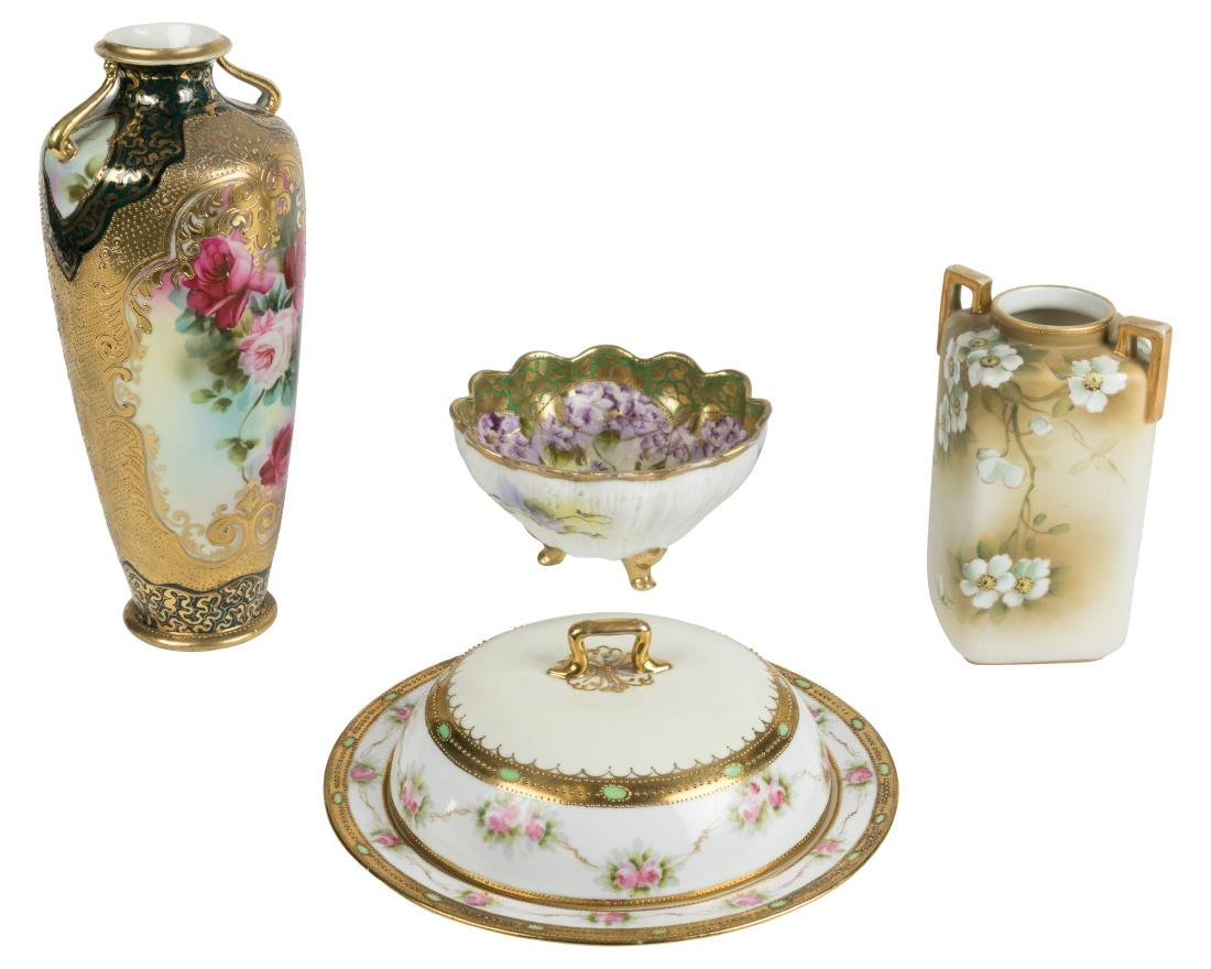 Two Nippon Vases, Bowl and Cheese Dish