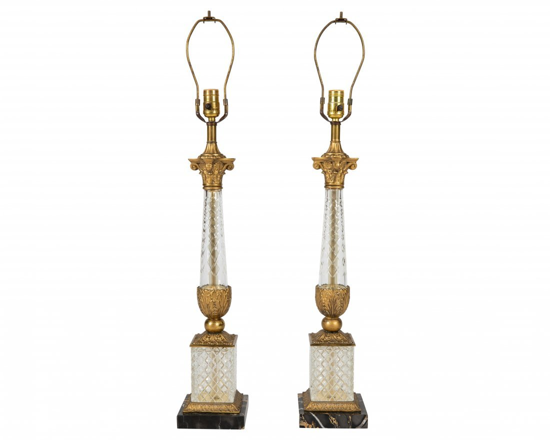 Empire Style Crystal and Gilt Metal Lamps