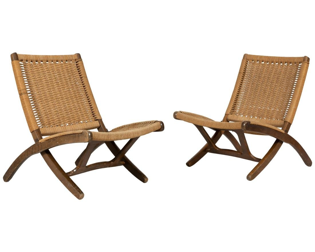 Hans Wegner Style Folding Chairs - Pair