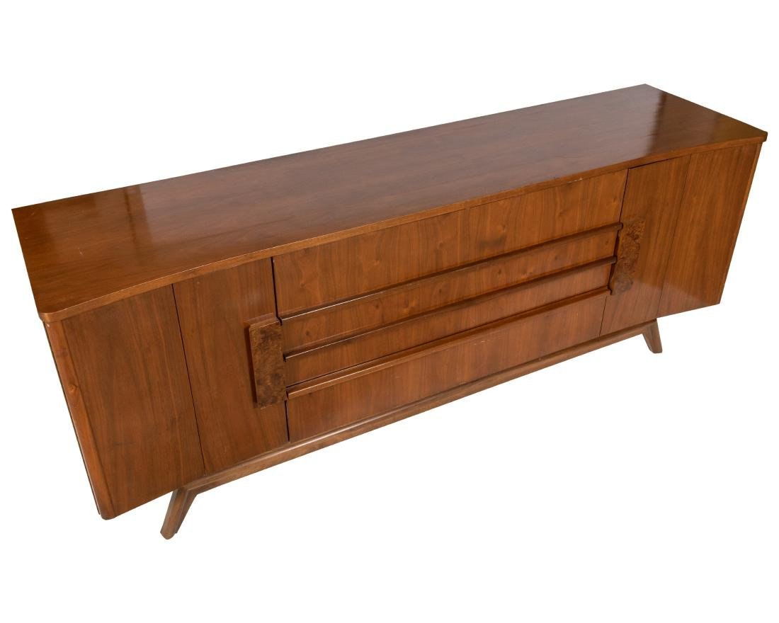 Walnut and Burl Triple Dresser - 2