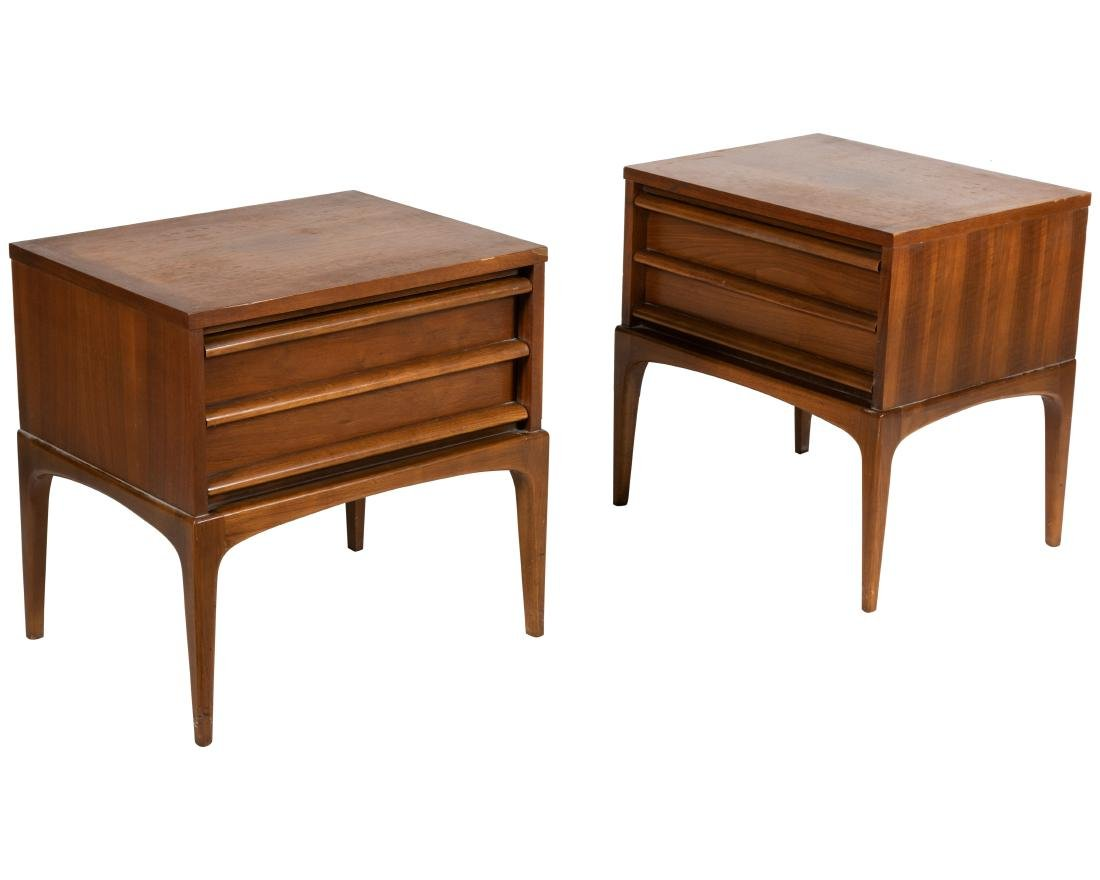 Lane Walnut Nightstands - Pair