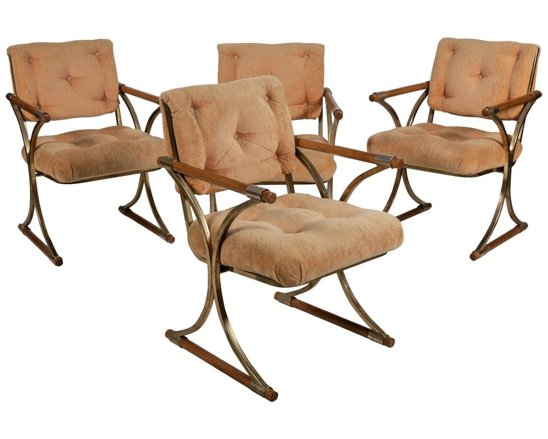 Campaign Style Brass and Wood Chairs - Four