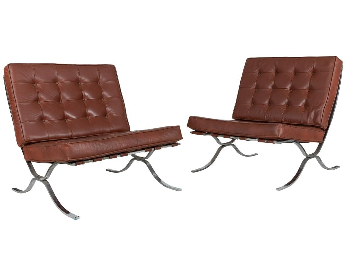 Barcelona Style Lounge Chairs - Pair