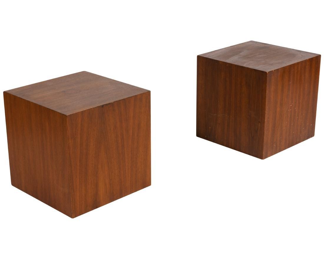 Milo Baughman Style Walnut Pedestals