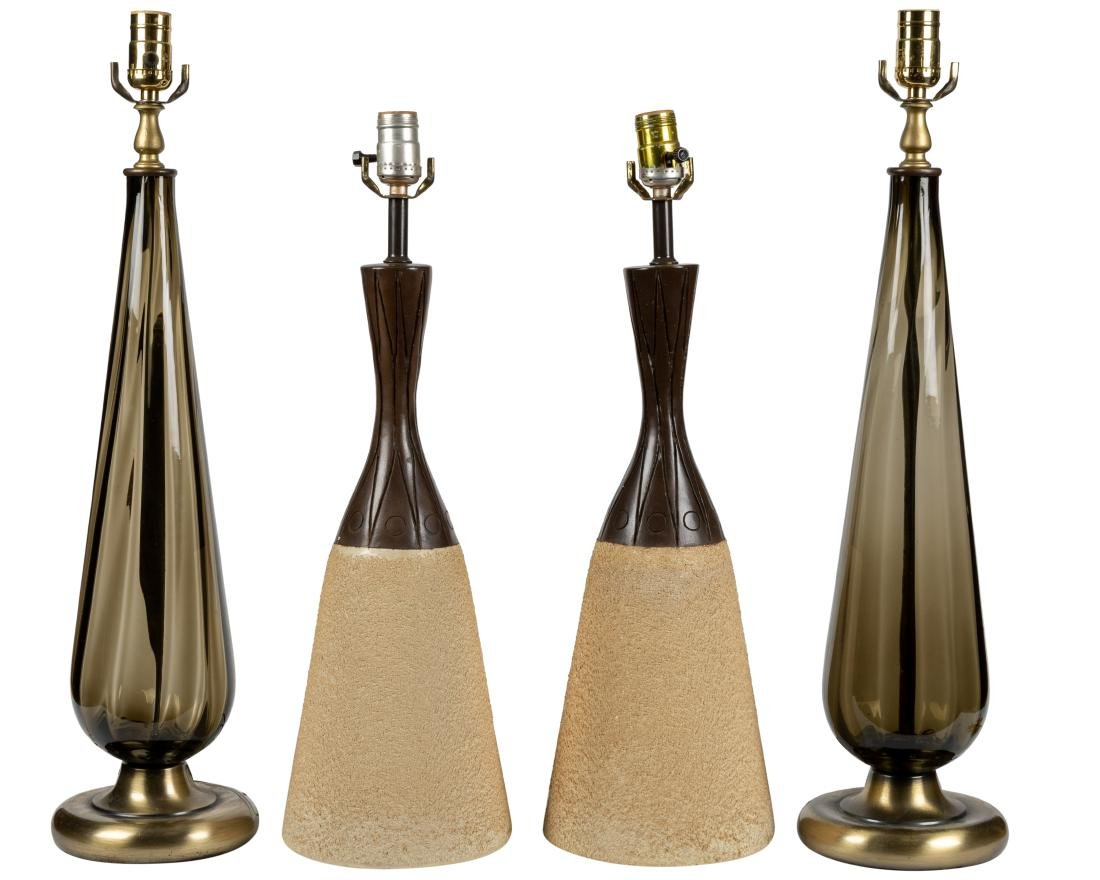 Conical Art Glass Lamps and Pottery Lamps