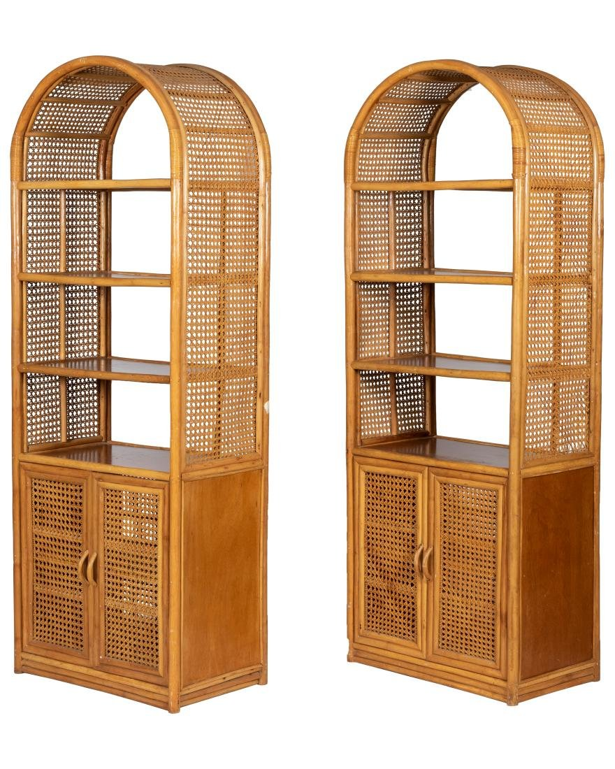 McGuire Style Rattan Two Sided Etageres