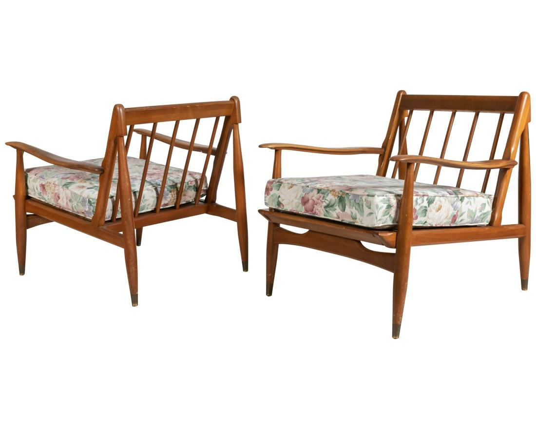 Walnut Sculpted Arm Chairs